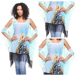 Large/XL Blue Fringe Kimono